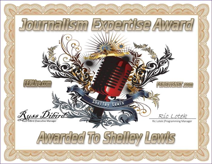 Shelley Lewis Wins Journalism Expertise Award