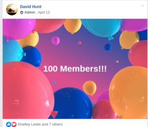 April 13th, 2019, David Hunt posts 100 MEMBERS of the Facebook Group The Plane Truth Documentary