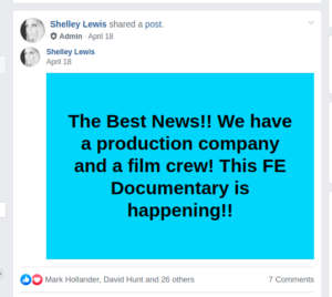 April 18th, 2019, Shelley Lewis announces a new hired-hand production and filming crew.